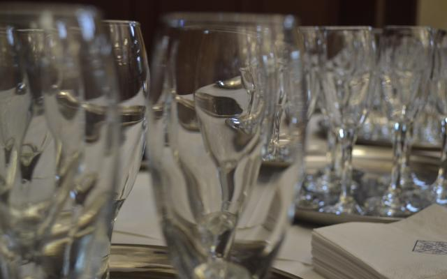 Wine glasses at a drinks reception