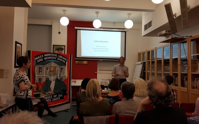 Tom Buchanan at the launch event at the Marx Memorial Library, London