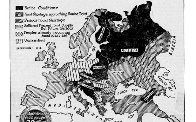 A US poster from 1918/1919, showing the levels of hunger across Europe