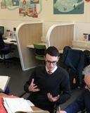 eamonn okeeffe centre left discusses the tomlinson diaries in wakefield library