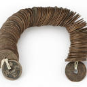 String of 100 Chinese cash coins. Qing dynasty, copper-alloy