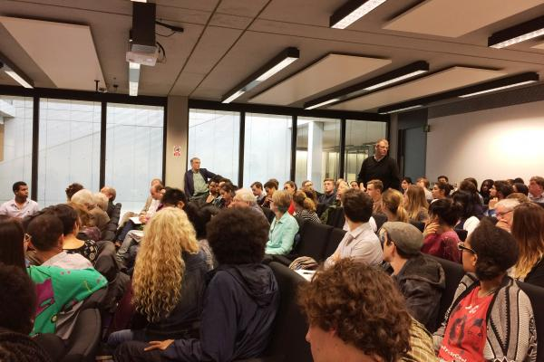 Students and staff members participating in the Oxford and colonialism talk-in