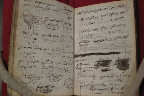 'This manuscript was kept by an Eastern Christian living in Rome in the 18th century.  The copyist made a note of the celebration of masses for people he had left behind in the Ottoman Empire, a testament to the memory of loved ones long after the migrati