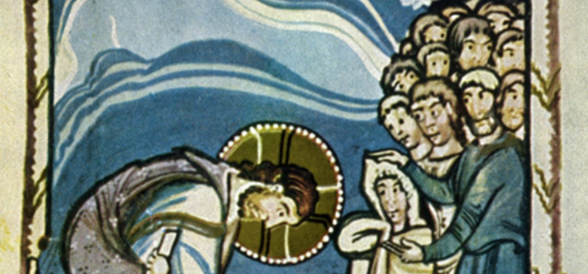 christ and the woman taken in adultery 11th century hitda codex