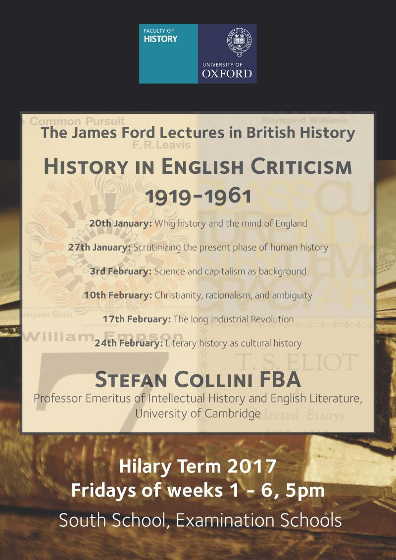 The James Ford Lectures in British History, 2017