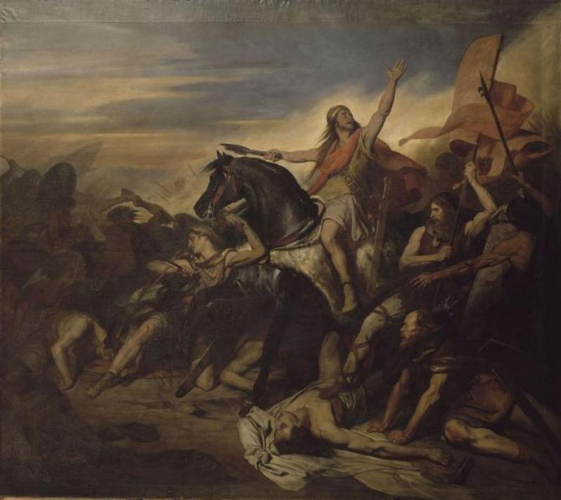 The 19th century Myth of Nations - Clovis I leading the Franks to victory in the Battle of Tolbiac, in Ary Scheffer's 19th-century painting
