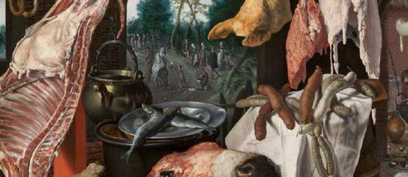 """Pieter Aertsen's """"Butcher's Stall with the Flight into Egypt"""""""