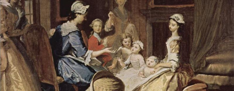 Joseph Highmore's illustration of Pamela teaching her children (1743–45)