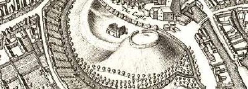 Oxford Castle on David Loggan's map, 1675.