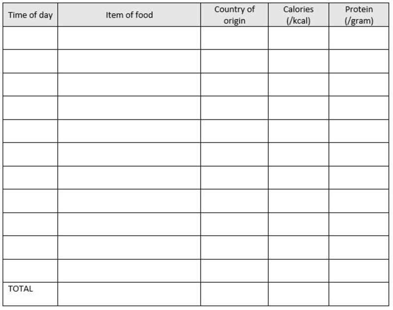 A table for students to complete as a food diary