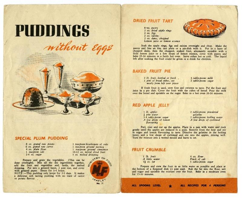 A recipe leaflet from the Ministry of Food that outlines puddings that can be made without the use of eggs.