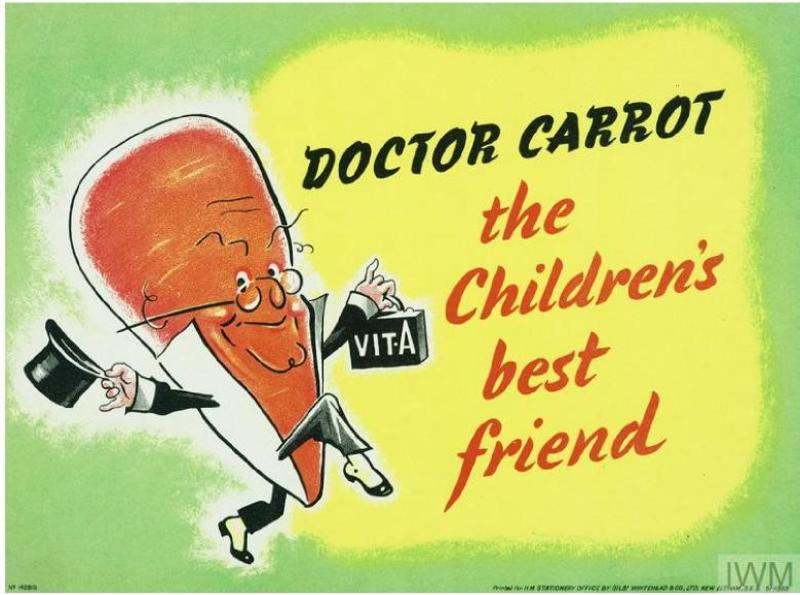 A cartoon of a carrot dressed in medical doctor attire, with the caption 'Doctor Carrot: The Children's Best Friend'