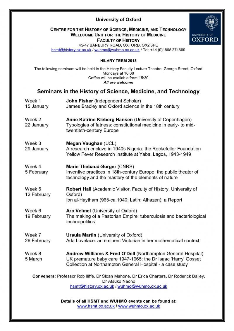 Hilary Term 2018 Seminars in HSMT