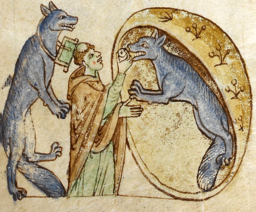an illustration depicting the story of a travelling priest who meets and communes a pair of good werewolves from the kingdom of ossory from british library royal ms 13 b viii