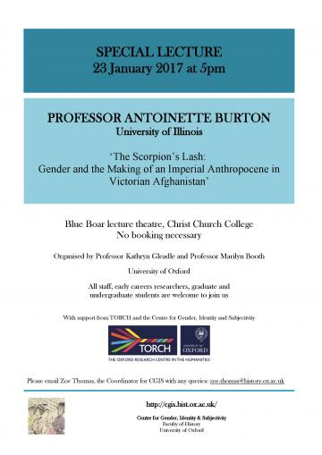 Poster for antoinette burton event