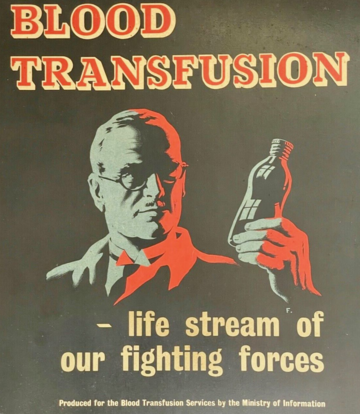 Ministry of Information poster from the Second World War designed as part of a publicity campaign to encourage civilians to donate blood to Britain's Army Blood Transfusion Service