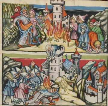 Abimelech Destroying Shechem; Abimelech Killed by the Woman of Thebes