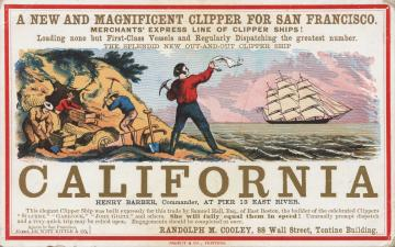Sailing card for the clipper ship California, depicting scenes from the California gold rush