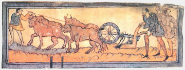 Early medieval depiction of a team of oxen pulling a mouldboard plough
