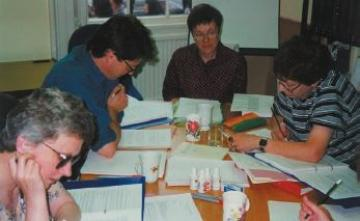 Rosemary Roberts conducting a training day for new copy editors