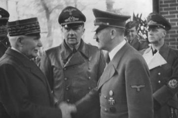 Maréchal Pétain shaking hands with Adolf Hitler on 24 October 1940