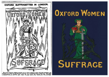 'lost' Oxford suffrage banner carried by an Oxford contingent at a national suffrage march in London in 1908 and recreated in 2018.