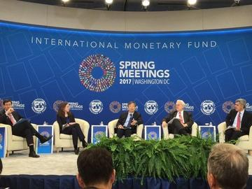 Catherine Schenk at the International Monetary Fund Spring Meetings in Washington DC in 2017