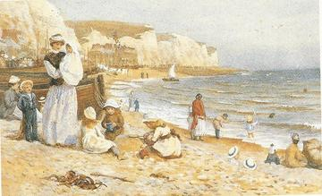 Painting by Helen Allingham depicting a governess and an ayah on a beach with several young children in their care.