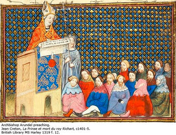 A manuscript image of Archbishop Arundel preaching to a congregation. Arundel wears patterned red and yellow robes and speaks from a pulpit. A church official holds a cross by him as he preaches.