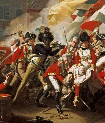 Detail from Copley's painting which shows Boston King in battle.