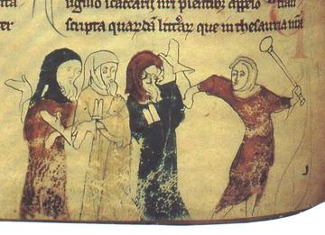An image from a thirteenth-century manuscript depicting two Jews being beaten. The Jews are depicted in coloured robes (yellow and blue, respectively), which are further marked with badges in the shape of two tablets. Their two persecutors wear red robes.