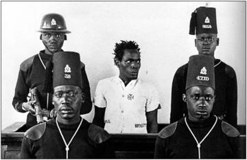 Photograph of Wahuriu Itote (General China) on trial in 1954