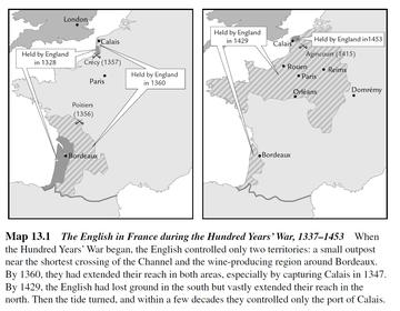 The first map shows the English territories at the start of the war: 'a small outpost near the shortest crossing of the Channel and the wine-producing region around Bordeaux', whilst the second map shows the reduction by 1453 to 'only the port of Calais.'