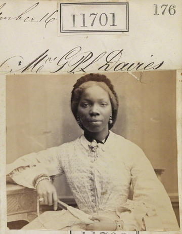 Photographic portrait of the Yoruba Princess Sara Forbes Bonetta, dated 15 September 1862.