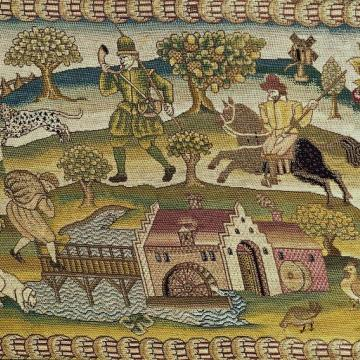 Detail of a carpet showing how 16th century people spent their time.