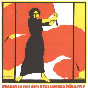 Poster for Women's Day, March 8, 1914. Claming voting right for women.