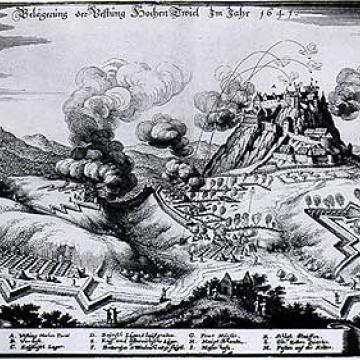 Engraving by Matthäus Merian shows the '''siege of the Hohentwiel fort''' in 1641