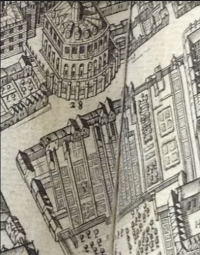 In this detail from David Loggan's bird's-eye view of Oxford in Oxonia illustrata (Oxford: e Theatro Sheldoniano, 1675), it is possible to make out the houses and gardens at the north-east end of Canditch (now called Broad Street).