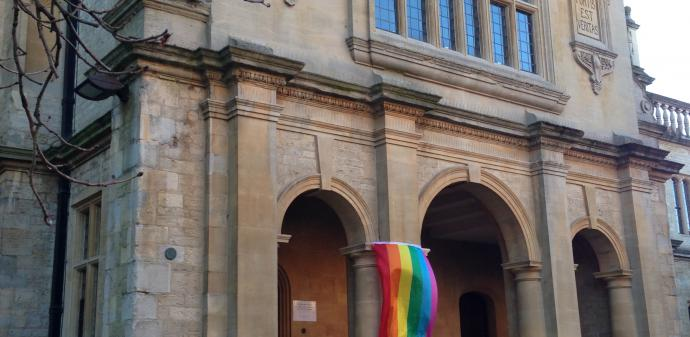 The LGBT flag flying at the Faculty of History
